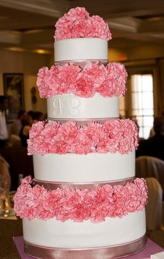 Religious Magic And Spiritual Ability Element One Pink Carnations Wedding Cake : Love But With Yellow, Orange, And Purple? Carnation Wedding, Wedding Flowers, Wedding Couples, Wedding Photos, Foto Pastel, White Icing, Grey Ribbon, Floating Flowers, Pink Carnations