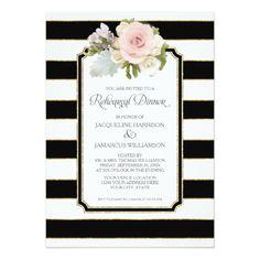 Simple Wedding Rehearsal Dinner Rehearsal Dinner Striped Modern Floral faux Gold Card