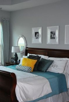 The perfect neutral gray paint color... no purple, blue, or green tint to it. Looks great with dark wood and white bedding. My new bedroom color! Benjamin Moore Stonington Gray