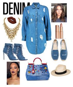 """""""Day to Night Double Denim"""" by bevlash on Polyvore featuring Dolce&Gabbana, Boohoo, Soludos, Oscar Tiye, Lime Crime and Roxy"""