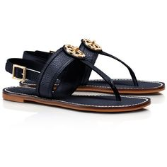 Tory Burch Selma Flat Slingback Sandal ($175) ❤ liked on Polyvore featuring shoes, sandals, black, flats, tory burch, tory navy, navy blue sandals, black leather flats, navy flats and black leather sandals