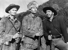 DAVY CROCKETT: KING OF THE WILD FRONTIER, Buddy Ebsen, Fess Parker, and Mike Mazurki.