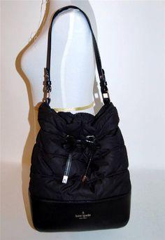 Kate Spade Nylon Leather Black West Valley Bag Bucket Bow Quilted Shoulder RARE #katespade #ShoulderBag