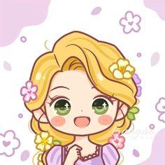 Disney Princess Art, Disney Rapunzel, Disney Art, Cute Disney Drawings, Kawaii Drawings, Cute Drawings, Disney Kawaii, Chibi Disney, Cute Disney Wallpaper