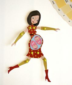 Palullah moveable pregnant paperdoll mom of twins by Paola Nuscis, via Behance