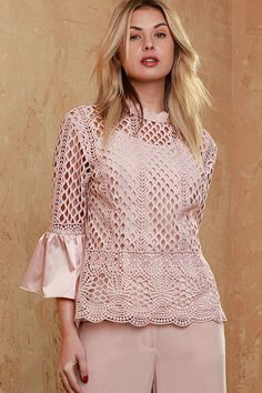 Satin Bell Sleeve Lace Blouse Couture Fashion, Girl Fashion, Fashion Dresses, Blouse Styles, Blouse Designs, Formal Tops, Sewing Blouses, Fancy Tops, Skirt Outfits