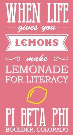 Pi Phi Lemonade for Literacy #piphi #pibetaphi