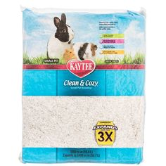 1000 cu in Kaytee Clean and Cozy Small Pet Bedding is safe for your pet and 15% more absorbent than other leading brands. 99.9% dust free. No Aromatic Oils. Colorfast fibers will not stain pets.