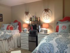 """My daughter's dorm at Ole Miss!"" I'm dead....so in love! A southern school....monogram matching dorm.....Ohh I will give my daughter this someday!"