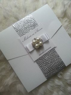 Pocketfold Wedding Invitation suite Silver by StylishStationery