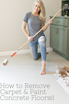 I know you want to get rid of your ugly carpeting. Check out this easy tutorial on removing carpeting and panting your concrete floors! Painting Indoor Concrete Floors, Concrete Floors In House, Painted Cement Floors, Diy Concrete Stain, Stencil Concrete, Stained Concrete, Concrete Bedroom Floor, Basement Floor Paint, Concrete Floor Paint