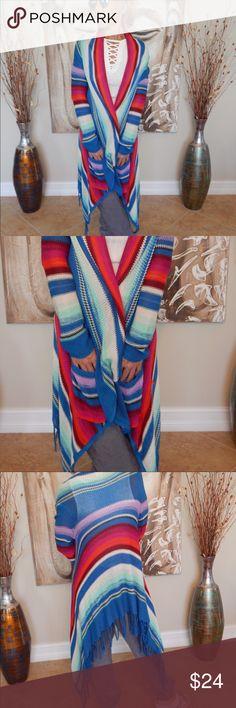BILLABONG cardigan duster sweater BILLABONG beachy rainbow colored fridge duster- size S Billabong Sweaters Cardigans