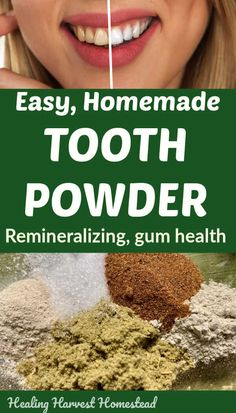 Here's a recipe for a natural homemade tooth powder that works great, is easy to make, will safe you Natural Health Remedies, Natural Cures, Natural Healing, Herbal Remedies, Natural Beauty, Natural Foods, Cold Remedies, Holistic Healing, Natural Treatments