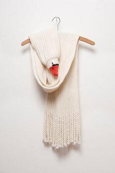bird scarf goose scarf  crocodile clip merino by Ninafuehrer