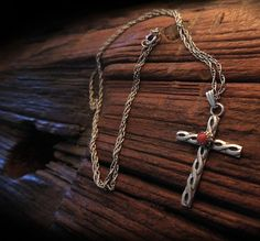 A Very Pretty Vintage Navajo pawn Sterling and Coral cross pendant at IronCrowVintage SOLD! going to Sweden.