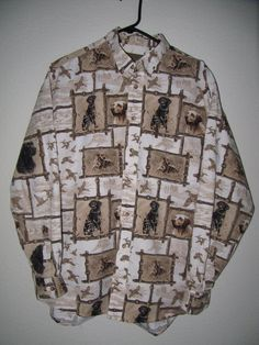 "North River Hunting Bird Dog Long Sleeve Button Front Shirt Mens L 48"" Chest 