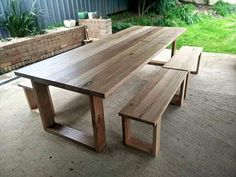 Table for outdoor kitchen Hoop Leg Dining Table and optional bench seats / Australian Hardwood / Victorian Ash / Tasmanian Oak / Messmate / 3 metre long setting shown Timber Bench Seat, Timber Table, Cafe Seating, Outdoor Seating, Outdoor Decor, Diy Outdoor Table, Patio Table, Outdoor Dining Furniture, Dining Table Legs
