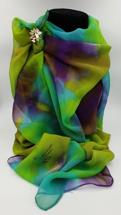 Soft Polyester Silk Hair Band Scarf Fashion Print Spectacular Cliffs And Waterfalls Scarf Hair Band Hair Scrunchy Scarf Scarfs Women Multiple Ways Of Wearing Daily Decor