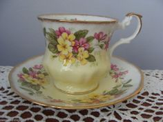 ROYAL DOVER TEA CUP AND SAUCER FLORAL PATTERN PINK & YELLOW FLOWERS GOLD TRIM #ROYALDOVER