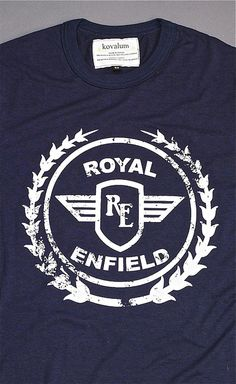 Royal Enfield Vintage Tee. Laurels Logo. Oxford Blue    KOVALUM.COM    $54.95    Vintage Indian print with distressed look. Royal Enfield is the oldest motorcycle brand in the world in continuous production. Kovalum collaborates with this Indian motorcycle
