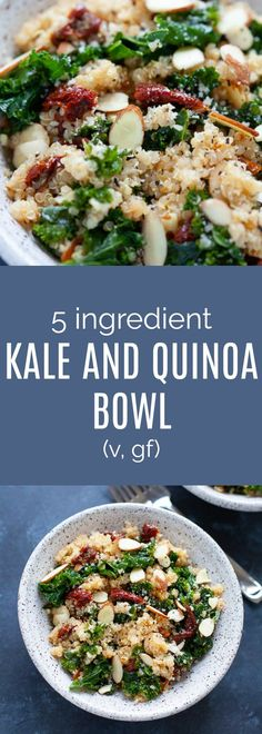 Recipes Quinoa A 5 ingredient healthy kale and quinoa bowl that uses only five ingredients and takes less than 25 minutes to make. Easy Healthy Recipes, Lunch Recipes, Diet Recipes, Vegetarian Recipes, Easy Meals, Cooking Recipes, Recipes Dinner, Dinner Ideas, Clean Eating Snacks