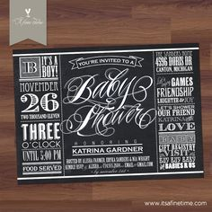 """Baby Shower Invitation - """"Lucky Label Chalkboard"""" Vintage Typography  Label / Poster Style - Boy, Girl, Twins, Gender Neutral (Printable). $18.00, via Etsy."""