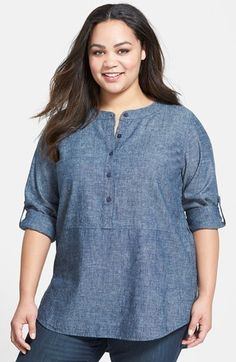 Eileen Fisher Chambray Tunic Shirt (Plus Size) Chambray Tunic, Tunic Shirt, Eileen Fischer, Plus Size Maternity Dresses, Plus Size Dresses, Blouse Styles, Blouse Designs, Nordstrom, Plus Size Blouses