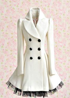 Elegant Gothic Double Breasted Gauze Trimming Coat not this color but It is so cute and I am a sucker for a pea coat. This is like a pea coat with personality Look Fashion, Winter Fashion, Womens Fashion, Fashion Coat, Dress Fashion, Diy Fashion, Fashion Ideas, Classy Fashion, Fashion Vintage