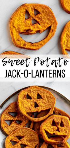 Halloween Food Ideas (Sweet Potato Jack-o-Lanterns!) - Simply Jillicious - Easy Halloween recipes for kids don't have to be full of sugar! These spooky little sweet potato - Halloween Saludable, Recetas Halloween, Healthy Halloween Snacks, Halloween Party Snacks, Halloween Food For Party, Vegan Halloween Recipe, Dairy Free Halloween Recipes, Dessert Halloween, Halloween Dinner