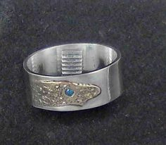 Mens ring blue Diamond set in Shibuichi metal on a silver thick band.  Size 10 by charsdesignsjewelry. Explore more products on http://charsdesignsjewelry.etsy.com
