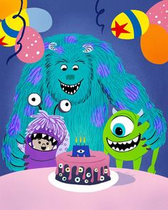 """""""Today's one for the adventure book! Celebrating 34 years of adventure, friends, and incredible stories. Monsters Inc Characters, Monsters Inc Boo, Up Pixar, Disney Pixar Movies, Monster Inc Birthday, The Incredibles 2004, Toy Story 1995, Disney Artists, Twisted Disney"""