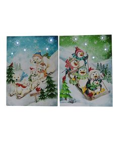 Look at this Sledding Time Holiday LED Wrapped Canvas Set on #zulily today!