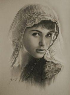 """""""Gemma Arterton as Tamina"""", Drawing by Krzysztof Lukasiewicz"""