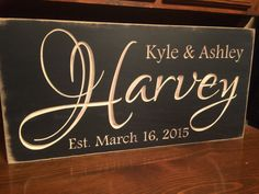 Personalized Family Carved Wooden Sign - Last Name Sign - Family Established Sign by HayleesCloset on Etsy