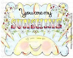 You Are My Sunshine - Nursery Watercolor Art Child's Room Painting - Horizontal Print