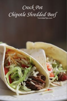 Crock Pot Chipotle Shredded Beef -- yum yum! http://www.tammileetips.com/2014/10/crock-pot-chipotle-shredded-beef/#_a5y_p=2622331