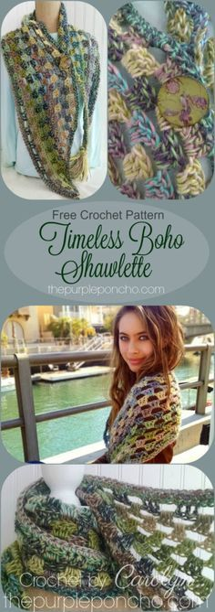 Timeless Boho Shawlette – Free Crochet Pattern on The Purple Poncho! Classic stitch and a large hook make this a quick project to mak