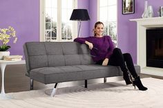 Ramp up to be the host or hostess with the mostess with the DHP Zoe Convertible Futon . By day, this futon's an inviting sofa with clean lines. Futon Bunk Bed, Futon Bedroom, Sofa Bed Sleeper, Futon Frame, Futon Sofa, Bed Couch, Futon Mattress, Murphy Bed Ikea