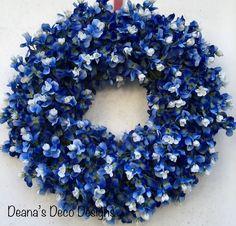 Texas BlueBonnet Wreath, BlueBonnet Wreath, Texas Wreath, BlueBonnet Texas Wreath, Blue and White Wreath, Spring Wreath, Spring BlueBonnets by DeanasDecoDesigns on Etsy
