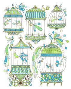 The Illustration of Jen Skelley: For Sale: Bird Cages -Limited Edition Screen Print Retro Vintage, Vintage Roses, Vintage Swim, Buch Design, Bird Cages, Bird Art, Beautiful Birds, Doodle Art, Illustrations
