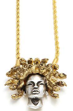 Han Cholo Necklace Medusa Pendant in Silver & Gold - Karmaloop.com