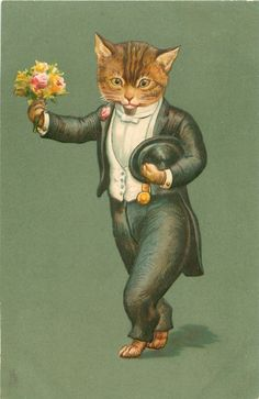 cat in black suit, with white shirt & waistcoat, carries posy of flowers in his right paw