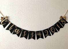 Class of 2018 Graduation Banner in Black and Gold with Bows. Graduation Party Decorations. H.S. or College Graduate. Customize your Colors! by PaperTrailbyLauraB on Etsy https://www.etsy.com/listing/597027273/class-of-2018-graduation-banner-in-black