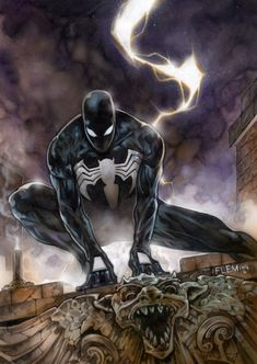 Black Spiderman, in Tom Fleming's Painted art Comic Art Gallery Room Comics Spiderman, Spiderman Spider, Dc Comics Superheroes, Amazing Spiderman, Pulp Fiction Characters, Marvel Characters, Hq Marvel, Marvel Heroes, Spiderman Black Suit