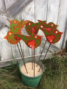 READY TO SHIP ~ Cardinal Red/Sour Apple Green Bird ~ Metal Garden Art Stake ~ Lawn Ornament ~ Indoor/Outdoor Decor ~