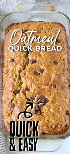 Oatmeal Quick Bread filled with chocolate chips takes less than an hour to whip up. You don't need a mixer or yeast for this easy and delicious sweet bread. Quick Bread Recipes, Easy Bread, Sweet Recipes, Baking Recipes, Breakfast Bread Recipes, Recipes With Quick Oats, Chocolate Chip Oatmeal, Chocolate Chips, Oatmeal Cake