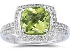 Cushion Cut Blue Topaz & Diamond Ring in White Gold. i LOVE cushion cut rings Peridot Jewelry, Gemstone Jewelry, Peridot Rings, Amethyst Gemstone, Gold Jewelry, Jewelry Box, Jewelry Rings, Diamond Jewelry, Vintage Jewelry