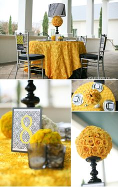 romantic black and yellow wedding inspiration! How awesome is that centerpiece? Golden Anniversary, 50th Wedding Anniversary, Anniversary Parties, Parents Anniversary, Anniversary Ideas, Mellow Yellow, Black N Yellow, Color Yellow, Romantic Wedding Inspiration