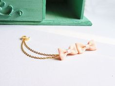 Peach Ribbon Bow Double Gold Chain Ear Cuff Pair by oflovelythings, $11.15