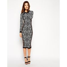 ASOS Midi Dress In Leopard Structured Knit and other apparel, accessories and trends. Browse and shop related looks.